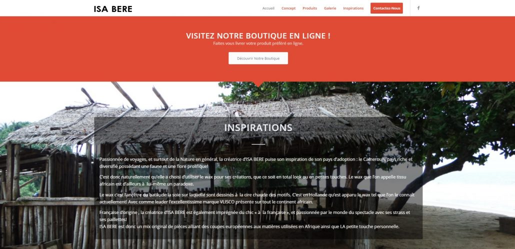 page accueil site vitrine isabere