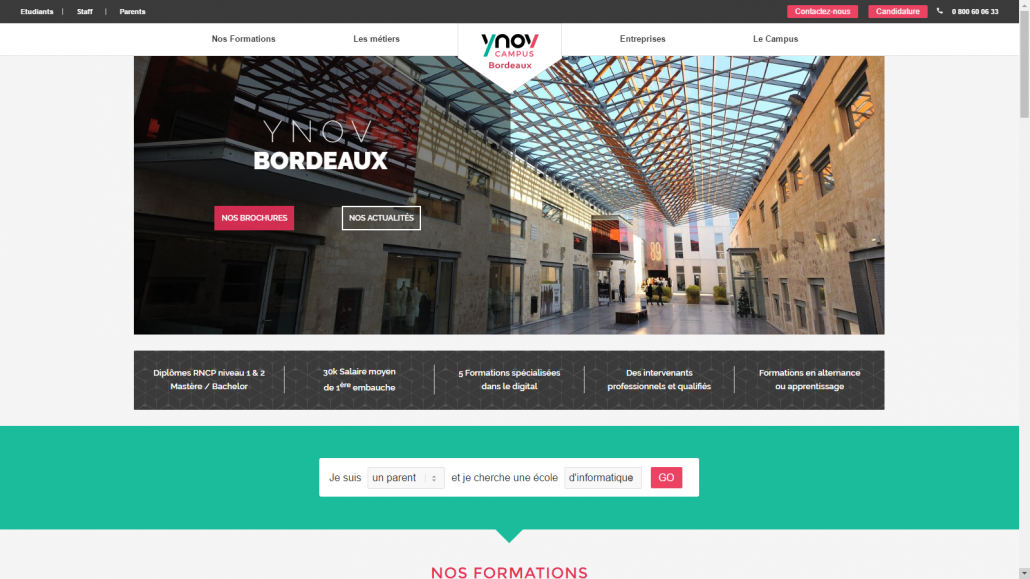 Screenshot du site internet de Ynov bordeaux