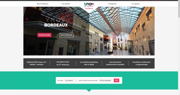 Screenshot du site internet de Ynov bordeaux