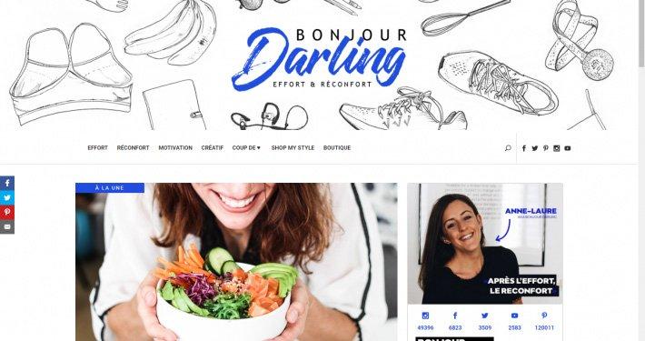 Présentation de la page d'arrivée du site internet de Bonjour Darling