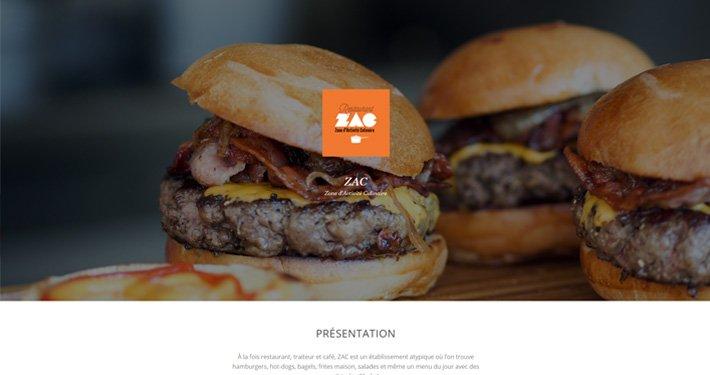 Présentation de la page d'arrivée du site internet du Zac