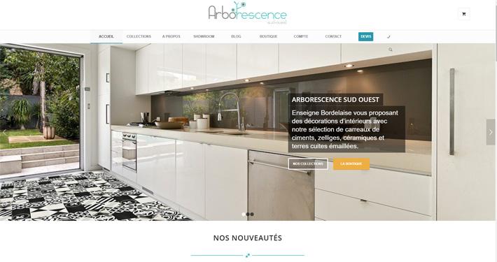 Accueil du site internet Arborescence réalisé par l'agence Wecode.fr